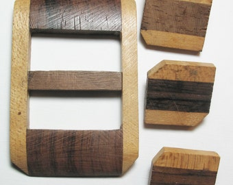 Wooden Buckle and Buttons, Modern, Large Square, Wood, 25mm buttons