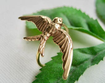 Gold Statement Ring,Outdoor Gift,Big Ring,Bird Ring,Swallow Ring,Bird Jewelry,Gold Bronze Ring,Gold Bird Ring,Flying Bird Ring,Boho Ring
