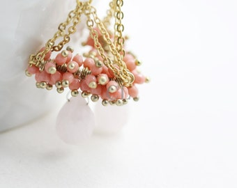 Rose Quartz and Vintage Pink Crystal Chandelier Earrings with Rose Quartz Teardrop(E45)