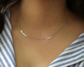 Blue Acrylic Double Name Necklace - Personalised with 2 Names! 3Km3a968uK