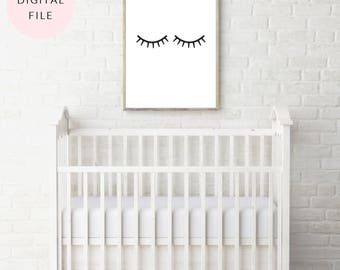 Modern Lashes - Lashes Print - Lashes Art - Nursery Print - Nursery Decor - Little Girl's Room - Baby Girl's Room - Lash Decor - Nursery Art