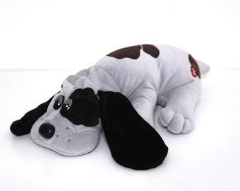 Vintage 80s pound puppy gray large plush stuffed animal brown spots