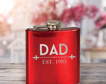 Flask/Father's Day Gift/Dad/Established Date/Red/Blue/Black