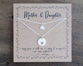 READY 2 SHIP . Mother Daughter  Necklace Set Mothers Day Gift  .  i carry your heart  .  mother of the bride gift  . back to school gift