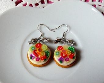 Boucles d'oreilles gourmandes tarte multifruits