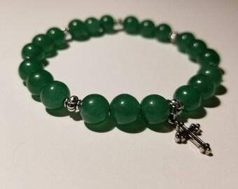 Cross Charm - Adventurine Prayer Bead Bracelet