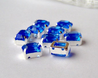Sapphire blue unfoiled 10x8 octagon sew on rhinestones in silver plated settings (9)