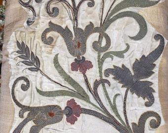 Antique Italian Embroidered Applique 18th Century Floral Metallic Needlework