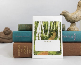 Ex libris book plates featuring a path in the woods. 17 bookplate stickers plus envelope. Can be personalized with name and other text.