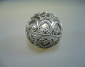 Oxidized Sterling Silver Bali Granulated Bead 22mm