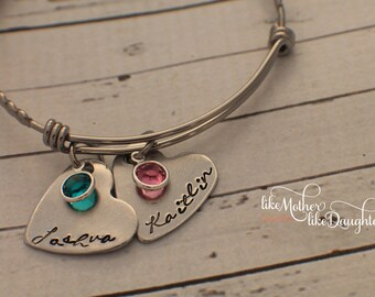 Birthstone Jewelry - Personalized Bracelet  - Hand Stamped Bracelet - Personalized Jewelry - Custom Bracelet - Mother's Day Gift