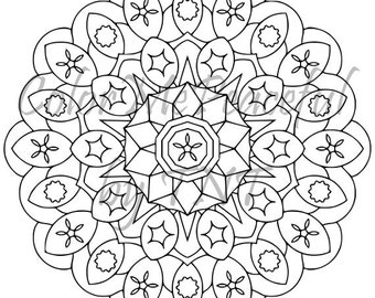 Mandala Adult Coloring Page - Mellow Mandalas, Volume 1, Page 3 | Printable Instant Download