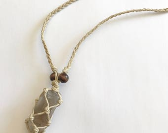 Reiki Infused Smokey Quartz Macrame Hemp Necklace