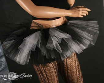 Peek a boo mini tutu skirt adult black and white gothic monster costume dance team derby -- You Choose Size -- Sisters of the Moon
