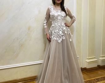Lace wedding dress, lace wedding dress, unique wedding dress, open back bridal gown, 3d flowers