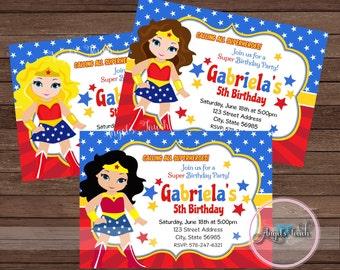 Wonder Woman Party Invitation, Wonder Woman Invitation, Wonder Woman Birthday Invitation, WW Party Invitation, Wonder Woman, Digital File.