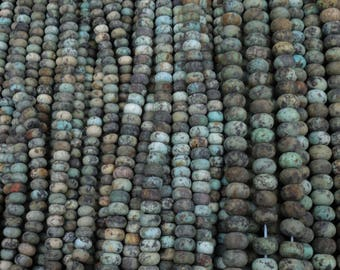 """Natural African Turquoise 8x5mm, 10x6mm, 12x8mm Matte Finish Center Drilled Rondelle Roundelle Beads 16"""" Strand"""