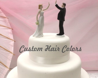 Custom Wedding Cake Topper - Joyful Bride and Groom - High Five Wedding Cake Topper - High Five Bride - High Five Groom - Humorous - Fun