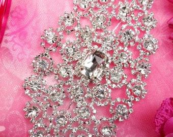 """TS118 Silver Crystal Clear Rhinestone Applique Embellishment  5.75""""  (TS118-slcr)"""