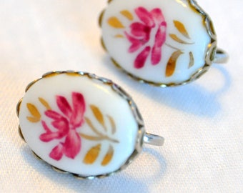 Vintage Ceramic Floral Hand Painted Pink Fuchsia  and Gold Earrings -  Delicate