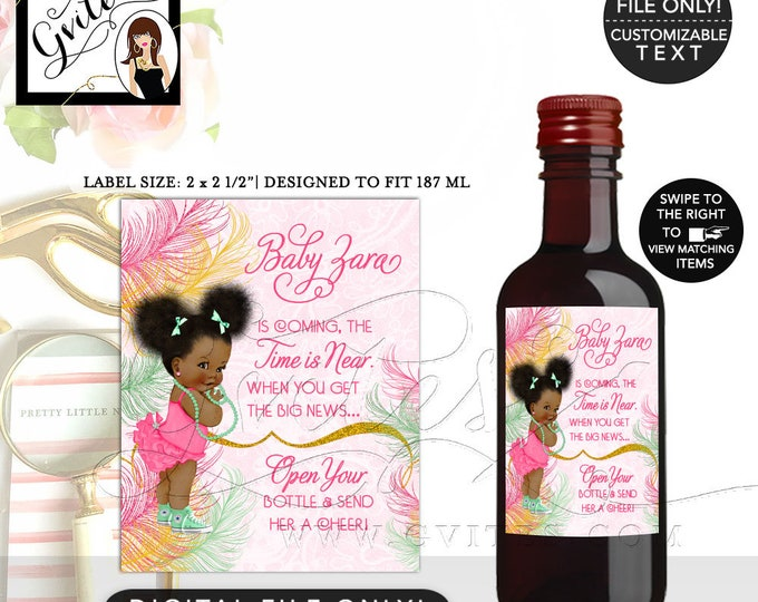"""MINI Wine Labels Pink Yellow Gold and Mint, Afro Puffs, African American Baby Shower Party Printable, DIY, {2x2.5"""" 12 Per/Sheet} Gvites"""