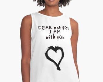 Black and White Loose Fitting Women's Tank Top Fear Not For I AM with YOU Christian Quote Religious Art Sheer Contrast Tank Plus Size Tank