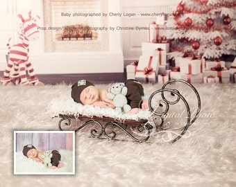 Christmas Background With Sleigh 2 - Beautiful Digital background backdrop Newborn Photography Prop download
