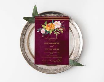 Printable Wedding Invitation Template, Floral Watercolor, Wedding Invites, Burgundy, Gold, Wedding Invitation Suite, Invitation Set #PI90055