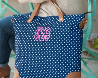 Monogrammed Bag, Tote Bag, Charlie Dot Tote Bag, Monogrammed Tote, Bridesmaids Gifts Shoulder Bag