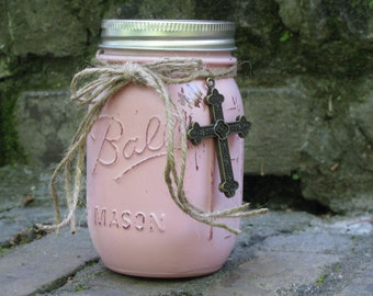 Scripture Jar, Pink With Cross and Chalkboard Lid - Contains 50 Encouraging Bible Verses