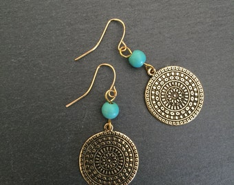 Gold Disc Earrings, Turquoise Earrings, Turquoise Jewellery, Boho, Turquoise, Bohemian, Ethnic, Gypsy