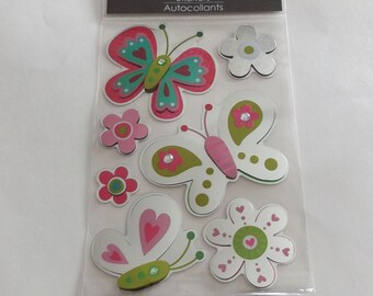 Scrap-booking Stickers Paper Craft Spring Butterfly Flower Colorful Pink Green White Autocollants Six (6)