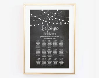 Wedding Seating Chart, Seating Plan, Table Chart, Seating Chart Sign, Large Seating Chart Wedding Sign, Canvas or Large Art Print #CL103