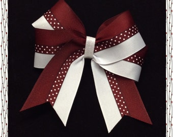 Maroon  White and Tiny Dots down the middle with a White Glitter Center Hairbow