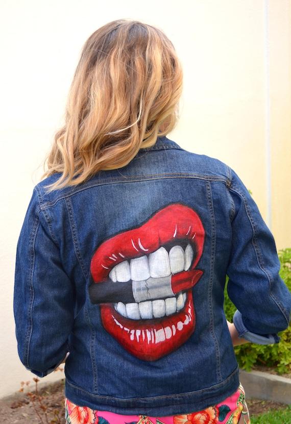 Lips Biting Mac Lipstick Custom Denim Jacket Hand Painted