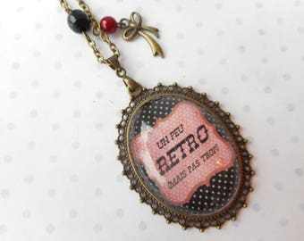 "Vintage ""a little retro but not too"" glass cabochon necklace red, black, polka dots, bronze charms, optional gift box"