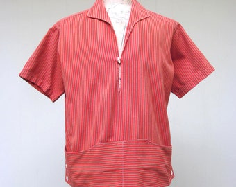 Vintage 1950s Men's Casual Shirt / 50s Striped Cotton Acapulco Tourist Cabana Shirt / Medium
