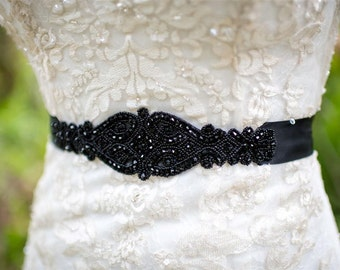 Black Crystal Bridal Sash Belt, Black Rhinestone Bridal Belt, Crystal Bridal Belt, Black Bridal Sash, Brides Maid Sash, prom belt