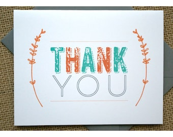 Branch Thank You Notes - Baby Shower Thank Yous - Orange  - Teal - Gray - Thank You Cards - Thank You Notes