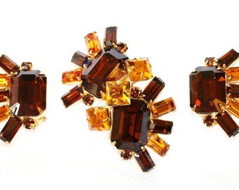 Original by Robert, Topaz Glass Brooch and Earrings Set, Vintage c.1950s - Robert Jewelry - Designer Jewelry - Signed Jewelry - Collectible