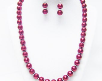 10mm Red Glass Pearl with Clear Glass Seed Bead Necklace & Earrings Set