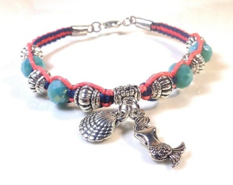 Coral and teal cord bracelet - Bracelet with beach charms - Macrame summer jewelry - Beaded bracelet