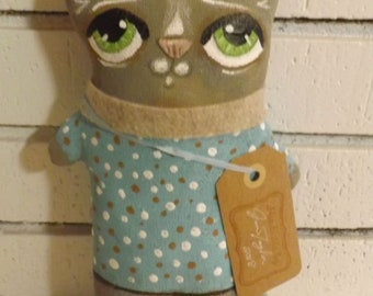 SALE,Cat Doll,Primitive Art Doll,Art Cushion Doll,Softie,Art Doll,Shabby Chic,Folk Art Doll,Folk Art Cat,Ornie,Whimsical,Cloth Doll,Animal