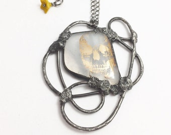 Fused Glass Skull | Stained Glass Pendant | Gold Skull Jewelry | Eclectic Necklace | OOAK | Gift Under 50 | Skull Jewelry for Women