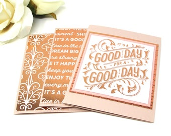 Inspirational Note Cards, SET OF 3, Stationery, Good Day, Rose Gold