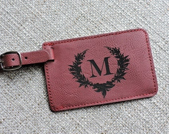 Monogrammed Leather Luggage Tags, Personalized Travel Gift