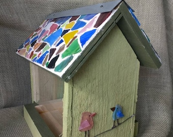 Bird feeder with stained glass roof. Handmade in Michigan.