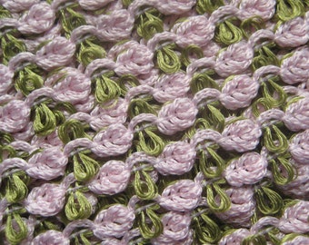3 Yards Sweet Little Rose Trim Old Store Stock Pale Pink And Sage Green