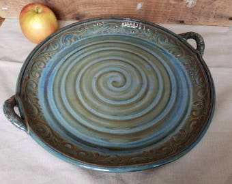 """12"""" Large Serving Tray, Blue, Green, Handles, Last Minute Christmas Gift, Unique Present, In Stock, Ready to Ship"""