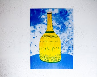 Bottle - Risograph Printed artwork of a bottle with hand and eye designs on it. Yellow, red and blue riso print A3 illustration.